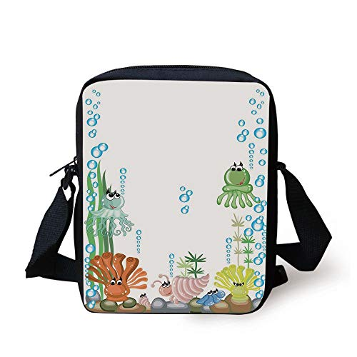 Jellyfish,Aquarium with Seashell Octopus Stones Water Bubbles Funny Cartoon Illustration,Blue Green Yellow Print Kids Crossbody Messenger Bag Purse