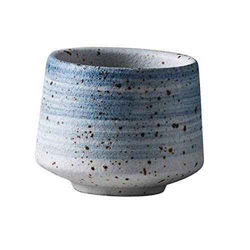 Fenteer Tazas de Té de Cerámica Japonesa Tazas de Porcelana Artesanales Taza China 200ml Gran Capacidad - Azul, Individual