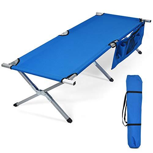 COSTWAY Campingbett Feldbett Klappbett Liege Bett Campingliege bis 205 kg belastbar, Einzelbett Faltbett mit Seitentasche 190x73x42cm (Blau)
