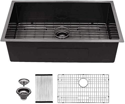 """33 Inch Undermount Kitchen Sink - Mocoloo 33""""x19"""" Gunmetal Black 16 Gauge Stainless Steel 10 inch Deep Single Bowl Kitchen Sink Offset drain Tight Radius Round Corner Install Under The Counter"""