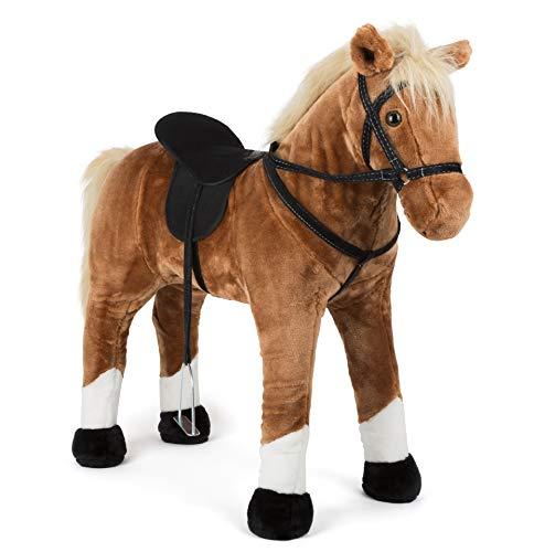 Small Foot 11177 Stehpferd mit Sound, braun, aus Holz, sicherer Sitz durch Steigbügel und Zügel, ab 3 Jahre Spielzeug