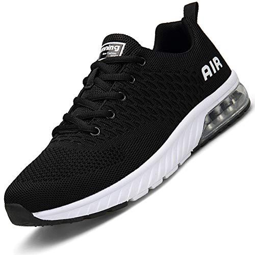 Mabove Laufschuhe Herren Damen Turnschuhe Sportschuhe Straßenlaufschuhe Sneaker Atmungsaktiv Trainer für Running Fitness Gym Outdoor(Schwarz/HK82,37 EU)