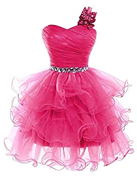 Lilibridal Short Prom Dresses Beaded Puffy One Shoulder Homecoming Pageant Fomal Evening Ball Gowns 083,Fuchsia,8