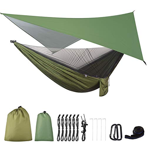FIRINER Camping Hammock with Mosquito Net and Rainfly Tent Tarp Tree Straps, Portable Single Double...