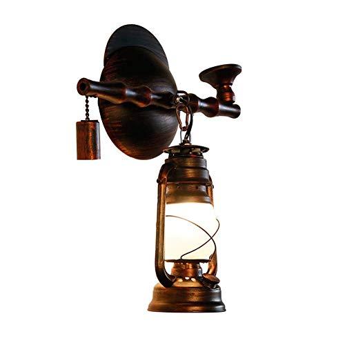 LED E27 Aplique de pared de loft para interior, farol de queroseno, luces de pared antiguas vintage, lámpara de pared de hierro forjado retro Nostalgia para sala de estar/dormitorio/pasillo/hot