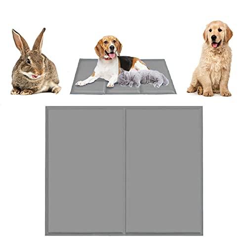 Qisiewell Esterilla de refrigeración para perros y gatos, color gris M, 50 x 65 cm, manta de gel frío, esterilla autorefrigerante