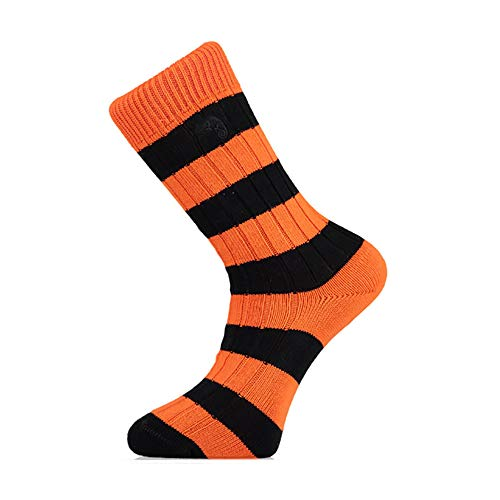 Orange and Black Striped Socks, Perfect Gifts for Hull City and Castleford Tigers Fans, Football and Rugby Club Colour Socks, Size UK 7-11