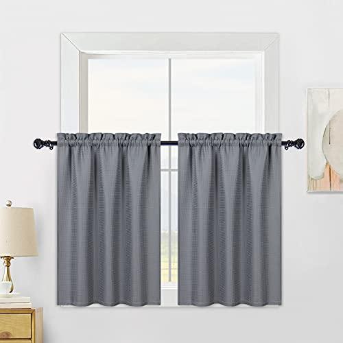 CAROMIO tende corte con trama a nido d'ape, tende piccole per finestre della cucina, tenda corta per il bagno per la finestra del bagno, grigio, 75x60cm, 2 pezzi