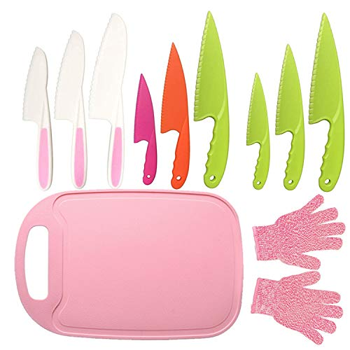 11Pcs Kids Plastic Knife Set,BPA-Free Children's Safe Cooking Knife Set 9Pcs Kid Nylon Knives With Cut Resistant Gloves(Ages 6-12)&Cutting Board for Fruit,Bread,Cake,Lettcue,Salad (Pink)