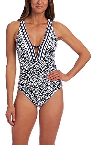 La Blanca Women's Plunge Mio One Piece Swimsuit, Indigo/Apulia Mix, 10