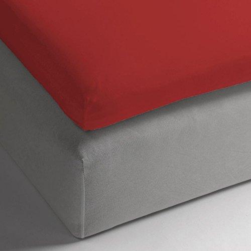 HNL katoenen hoeslaken voor topper I afmetingen 140 x 200 x 12 cm I kleur Aurora Red