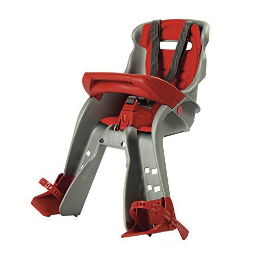 OKBABY Orion - Seggiolino Anteriore per Bambini, Sicurezza in Bicicletta dai 7/8 Mesi (15 kg) - Argento e Rosso