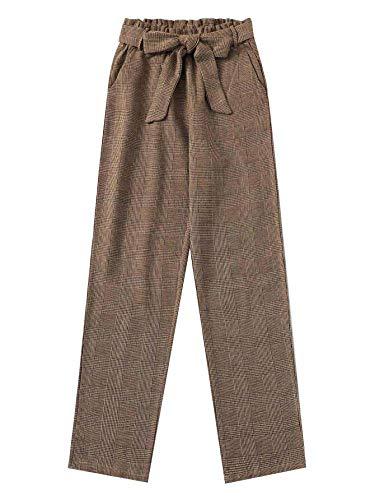 SOLY HUX Damen Leggings Plaid Knoten Hosen Taschen mit Elastischer Taille und Gürtel Legginshose Capris Pants Braun M