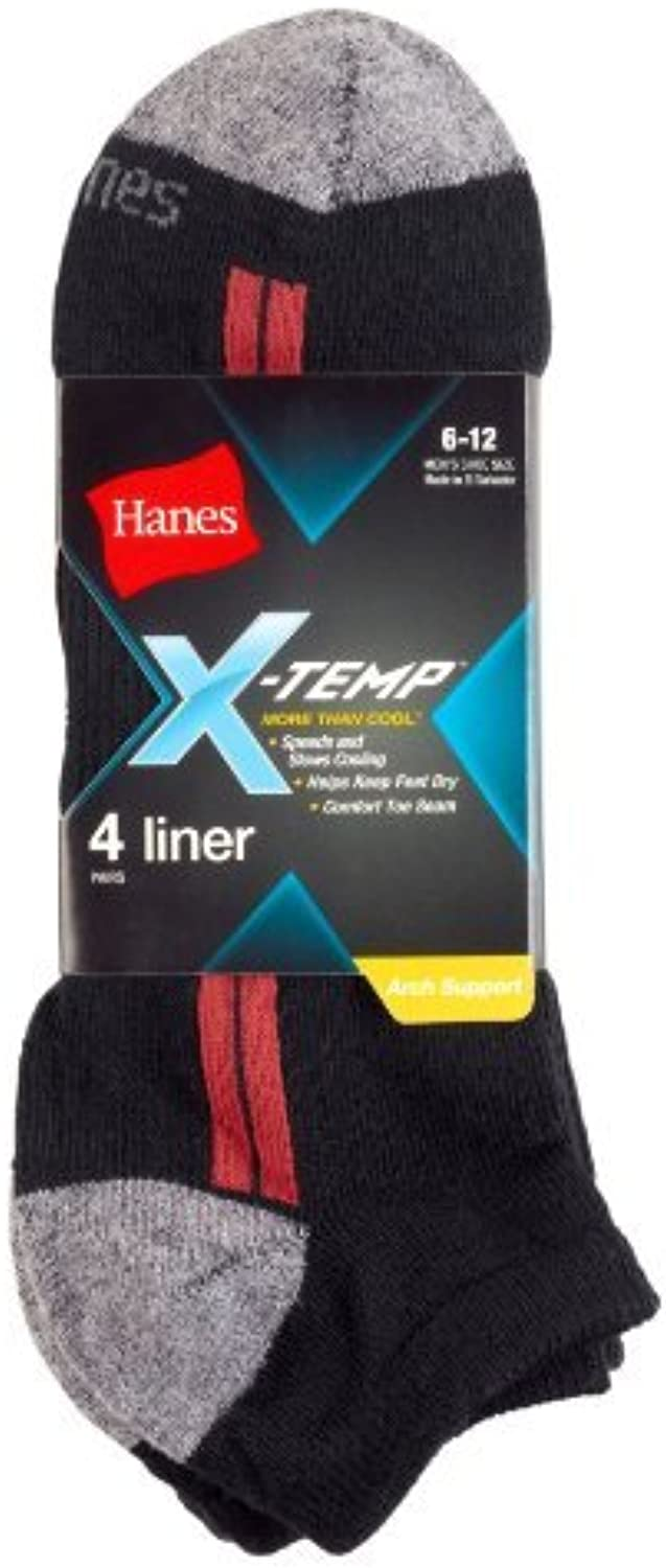 Hanes Men's XTemp Arch Support Liner Socks 4PK, Black Red Assorted Size1013 by XTemp