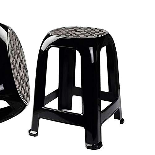 Plastic Forte -Taburete Plástico Negro Taburete Resistente plástico para baño,Cocina ,Sala,etc 37 x 37 x 46,5 cm
