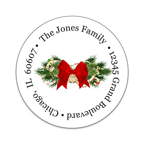 Custom Round Return Address Gloss Labels - Christmas Theme - 2 Inch Round Holiday Labels - 100% Made in The U.S.A. (Christmas Bow)