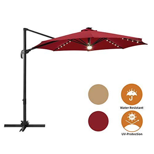AECOJOY 10FT Patio Umbrella 360-Degree Solar LED Cantilever Offset Hanging Shade Easy Tilt for Garden Deck Pool Patio, Red