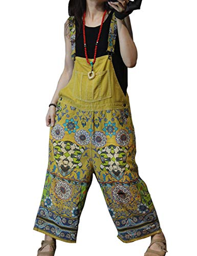 Flygo Women's Loose Floral Printed Distressed Capri Denim Bib Overalls Jumpsuit Rompers with Pockets (One Size, Style 06 Yellow)