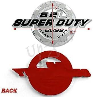 Black 6.2L V8 Super Duty Boss Side Fender//Trunk 3D Emblem Badge 2 PCS Chrome Black