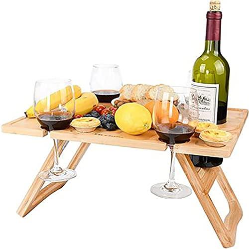 Adecuado para al aire libre y acampar Mesa de picnic plegable de madera mesa de vino portátil mesa rectangular al aire libre plegable de la mesa de camping con estante de vidrio Detalles de vino de fr