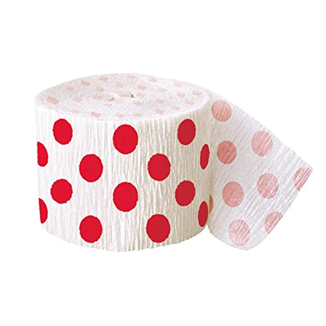 30ft Red Polka Dot Crepe Paper Streamers