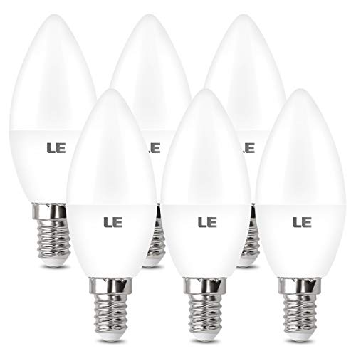 LE Bombilla Vela LED E14, Bombilla E14 5.5W reemplaza a la bombilla de 40W, 470 lúmenes, blanco cálido 2700K, ángulo de haz de 200 °, Ideal para candelabros, paquete de 6