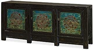 ChinaFurnitureOnline Tibetan Cabinet, Vintage Hand Painted Elm Wood