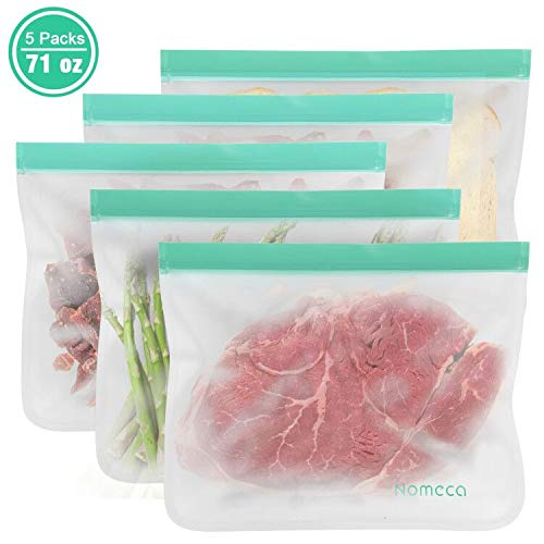 Reusable Food Storage Bags, Nomeca BPA-FREE PEVA Ziplock Sandwich Bag, Airtight Leakproof Washable Freezer Bags for Lunch, Meal Prep, Snack, Fruit, Cereal, Sous Vide - 71 oz (5Packs Extra Large Bags)
