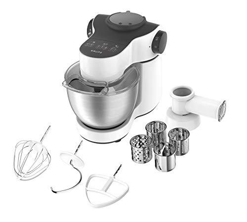 Krups KA3121 Master Perfect Küchenmaschine; 1.000 Watt; 7 Geschwindigkeiten + Pulse- Funktion; 4L Edelstahlschüssel; inklusive 2 Zubehör: Back- Set, Schnitzelwerk; weiss