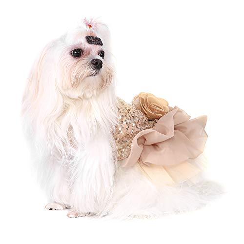 Garosa Vestido De Perro para Mascotas Ropa para Perros Pequeños Lentejuelas Tiquín Sedoso Disfraz De Perrito Princesa Elegante Falda Traje De Boda(L-Beige)