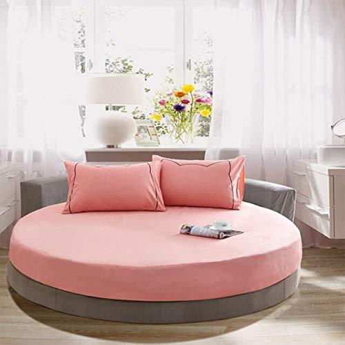 Mhtop Sábana Ajustable Redonda sólida de algodón 100% Juego de sábanas Redondas de Color sólido romántico Juego de Cama Funda de colchón Topper 220cm Hotel temático