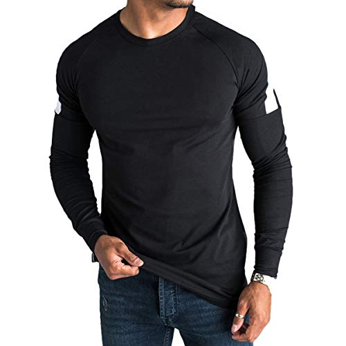 Magiftbox Mens Soft Workout Gym Long Sleeve Sweatshirts Active Jogging Fashion Casual Muscle T-Shirts T35_Black_US-L