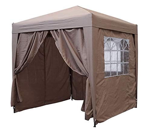 QUICK STAR Gazebo Pop-Up 2 x 2 m Beige con 4 fianchi Easy Velcro con 2 cerniere