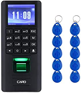 YATACH YT50 Indoor Access Control 3in1 and Employee Time Attendance Black Wiegand Fingerprint Biometric RFID Tag Password Card Reader Keypad 2.4 inches Color TFT No Software 125KHz EM Compatible 1000