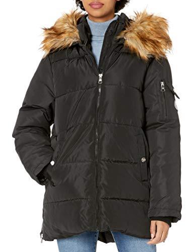 Madden Girl Women's Nylon Puffer Jacket, Side Zip Black, L