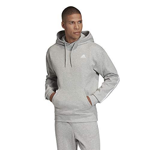 adidas M Mh 3s Oh Hood Sudadera, Hombre, Medium Grey Heather/White