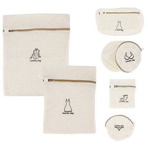 MoYouno Paquete de 6 Bolsas de Malla para lavandería con Cremallera, Bolsas de Lavado para Lavadora, Bolsas de Lavado para Blusas delicadas, calcetería, Ropa Interior, Sujetador, Ropa de bebé