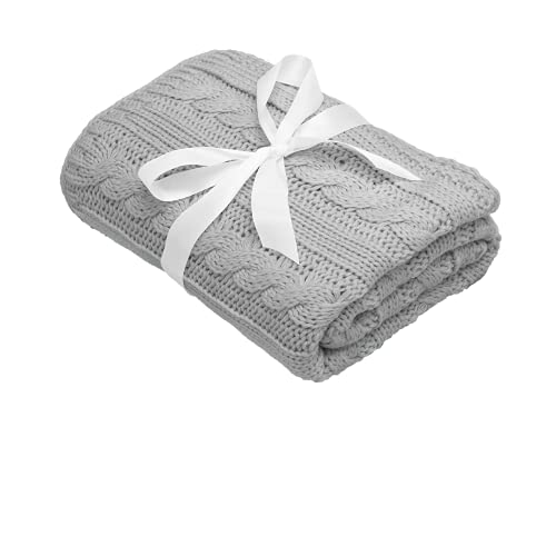 Mikos * Manta para bebé   Manta de punto   Ideal como manta de primeros pasos   Manta para cochecito   Manta para bebé con patrón trenzado Öko-Tex   100 x 90 cm (1003) (gris)