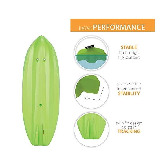 Lifetime Youth Wave Kayak with Paddle, 6 Feet, Green 4 Specifically designed for kids ages 5 and up; 130 LB weight capacity Lightweight 18 Lb. design with molded finger handles on each side for easy transport Sloped at the end with a swim-up step allowing rider to easily re-enter the kayak from the water