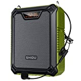 SHIDU 25W Amplificador de voz con micrófono con cable, petaca Portátil Impermeable Sistema de Pa personal, compatible con Bluetooth/TF/USB/AUX para profesores, guías turísticos, reuniones etc (Verde)
