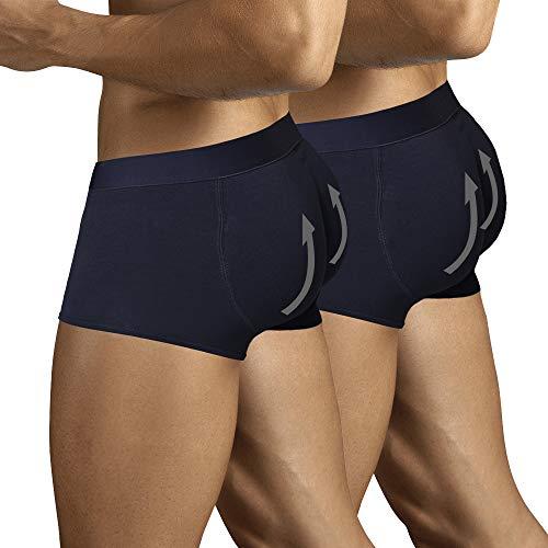 ARIUS Pack 2 Calzoncillos Boxer con Relleno Trasero para Aumentar el Volumen y tamaño de glúteos y Levantar. Los 2 Iguales en Color Negro - Push up y Relleno de Nalgas (L)