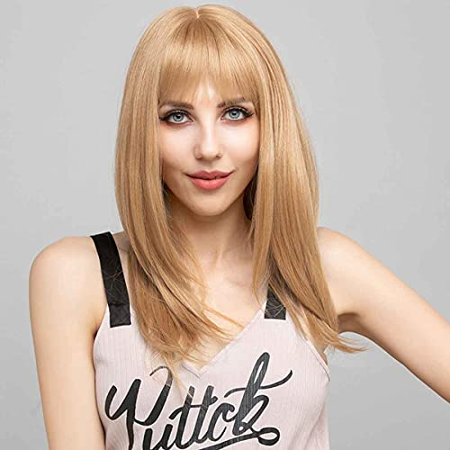 """SOKU Strawberry Blonde Synthetic Wig 20"""" Natural Straight Hair with Fringe Bangs Flawless Hairline Glueless Wigs for Women Girls Daily Use Fluffy Soft Hair Realistic Wigs"""