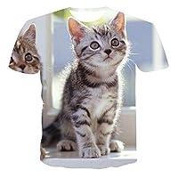 Summer Cat Print Short-Sleeved T-Shirt Modern Men And Women 3D Printing Pet Tee Simple Style Casual Top 110-6XL 2021