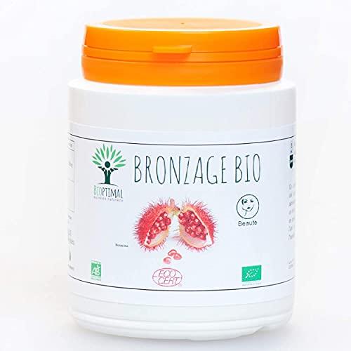 Autobronzant Naturel - Bioptimal - Complément Alimentaire - Activateur Accélérateur de Bronzage de la Peau- 100% Poudre Urucum Bio - Gélule Vegan - Fabriqué en France - Certifié Ecocert - 200 gélules
