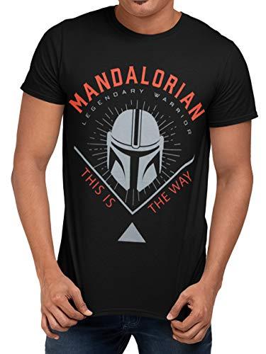 Star Wars Maglietta per Uomo The Mandalorian Nero X-Large