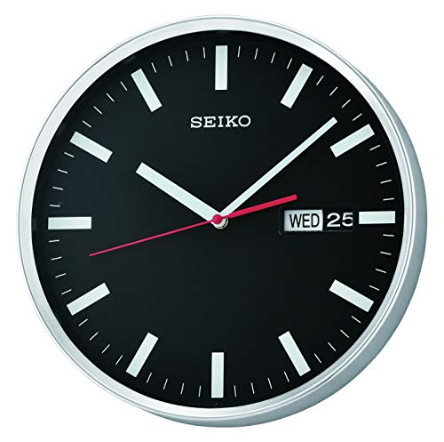 SEIKO, orologio da parete con giorno e data, colore nero, modello QXF104A
