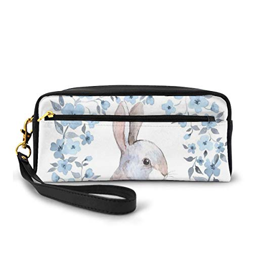 Pencil Case Pen Bag Pouch Stationary,Bunny Rabbit Portrait in Floral Wreath Illustration Country Style,Small Makeup Bag Coin Purse