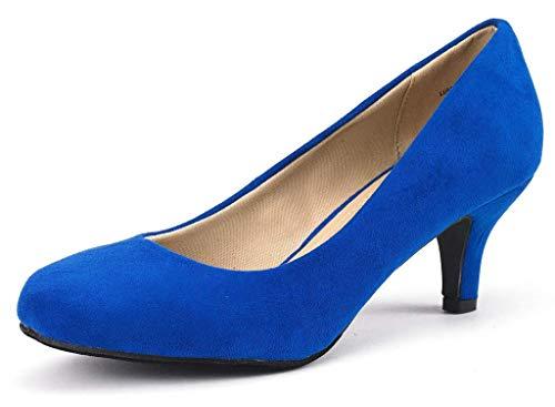 DREAM PAIRS Women's Luvly Royal Blue Bridal Wedding Low Heel Pump Shoes - 9.5 M US