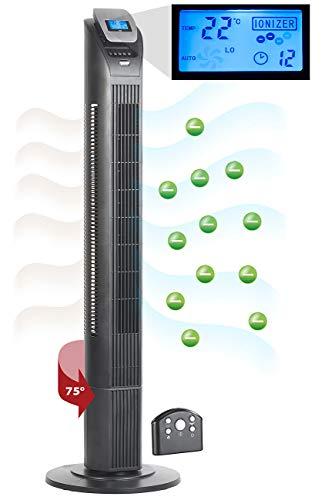Sichler Haushaltsgeräte Säulenventilator: 3-stufiger Design-Turmventilator mit Ionisator, 75°-Oszillation, 50 W (Ventilator-Säule)