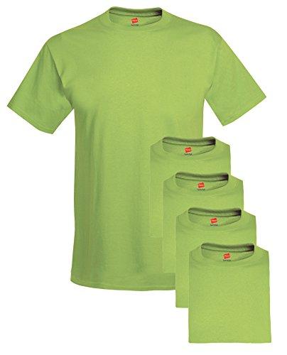Hanes mens 5.2 oz. ComfortSoft Cotton T-Shirt(5280)-LIME-L-5PK